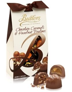 170g Butlers Chocolate Caramels and Hazelnut Pralines Milk